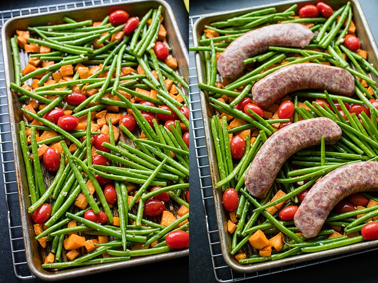 Sweet potatoes, green beans, and cherry tomatoes mixed on a sheet pan ready to roast, then topped with Italian sausage for a full sheet pan dinner.