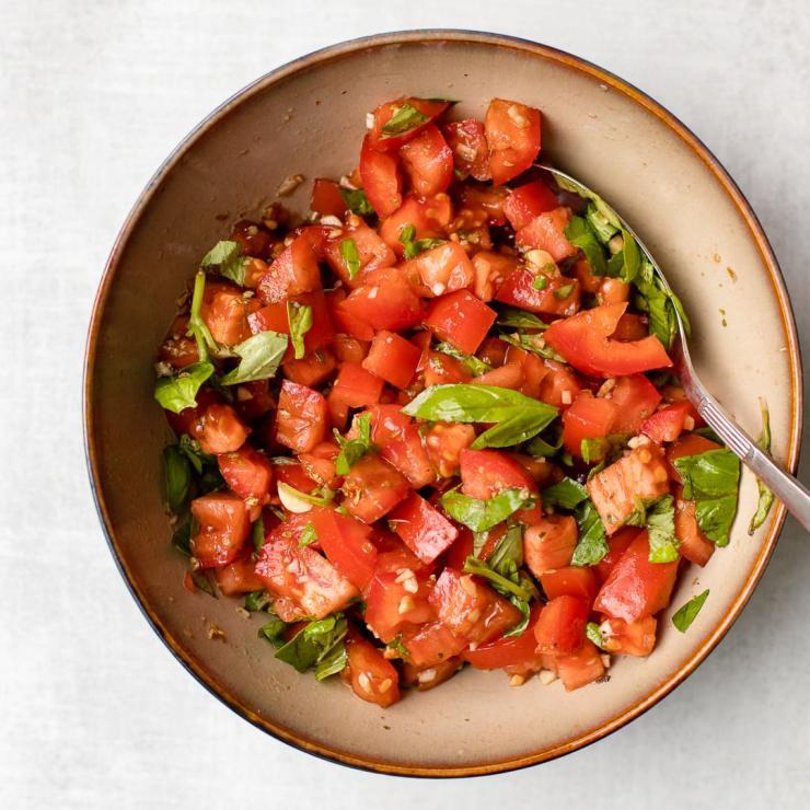 Bruschetta of fresh tomatoes and herbs.