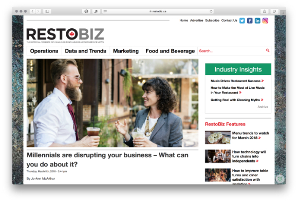 Screenshot of the article in Restobiz Canada Magazine