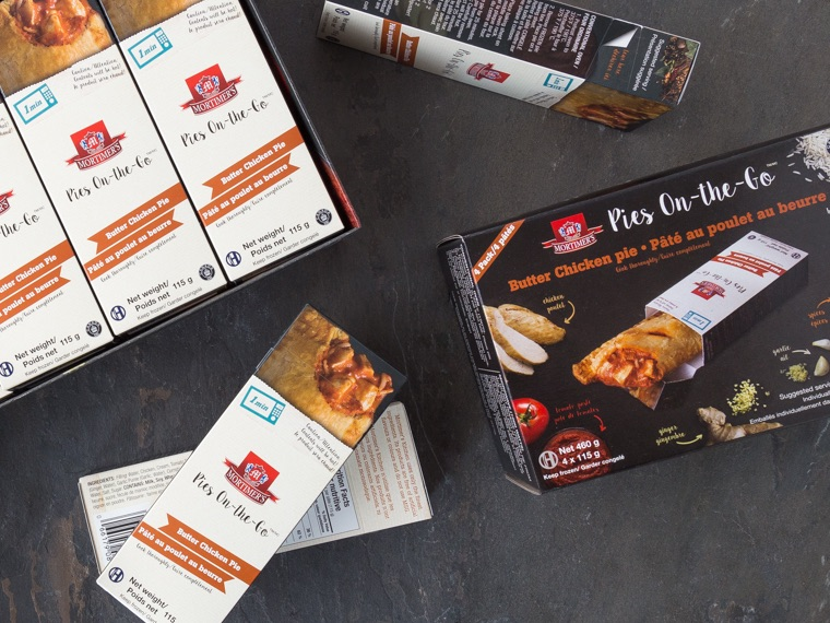 Packaging for Mortimers Butter Chicken Pies