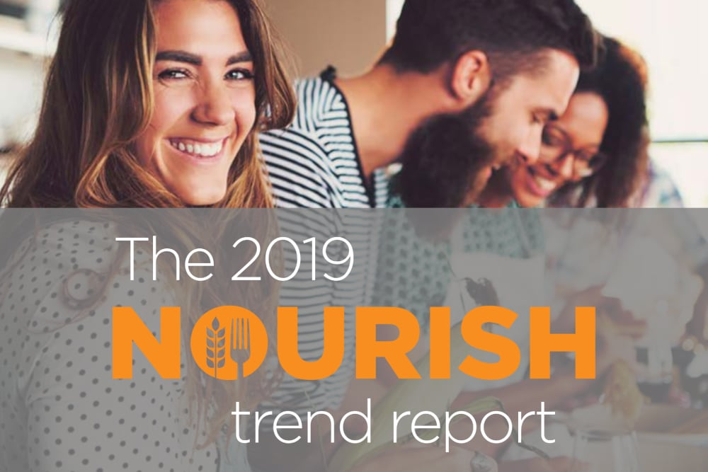 Happy millennials making a meal in a kitchen overlayed with the 2019 Nourish Trend Report