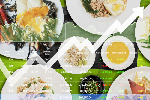 Images of food with an overlay of graphs and charts