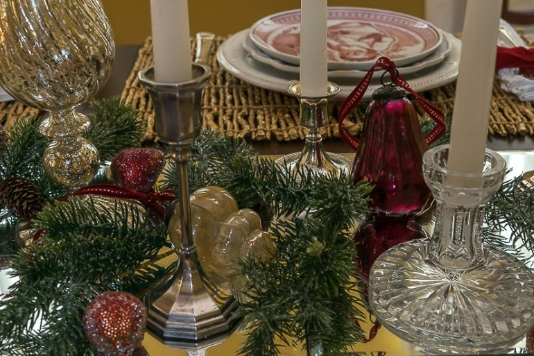 Ideas for decorating your Christmas dining room table. Spode St. Nick plates, red velvet, mercury glass and candles are perfect Christmas decorations for your holiday home decor.
