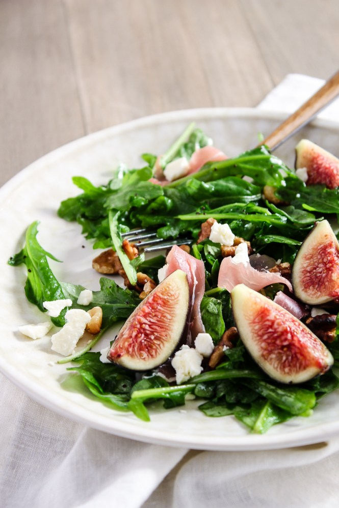 prosciutto and fig salad over arugula with feta and toasted walnuts