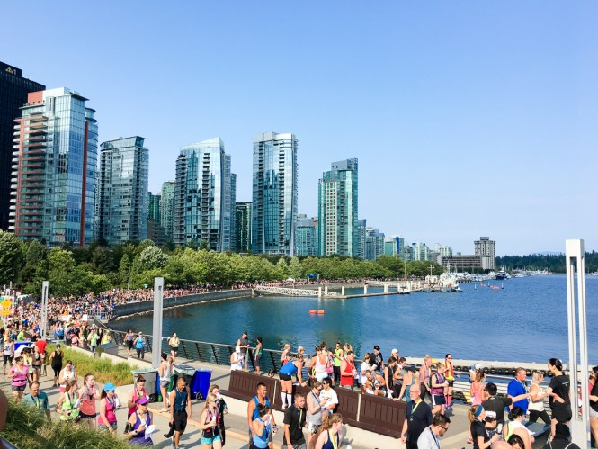 Walking from the Lululemon Seawheeze finish line in Vancouver, BC to post-race brunch