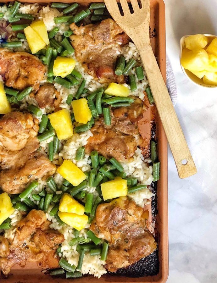 Sheet Pan Pineapple Chicken & Rice