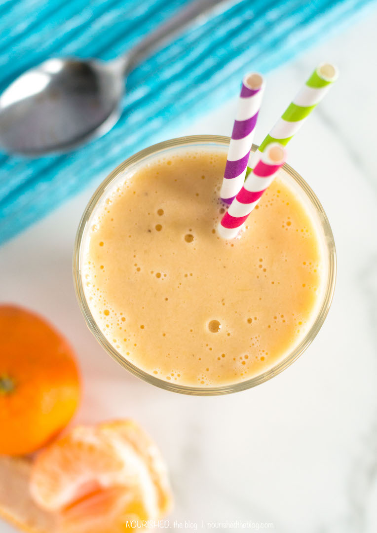 Sunshine Orange Creamsicle Smoothie | nourishedtheblog.com | A creamy gluten free and vegan possible Orange Creamsicle Smoothie made with orange, banana and a super secret ingredient