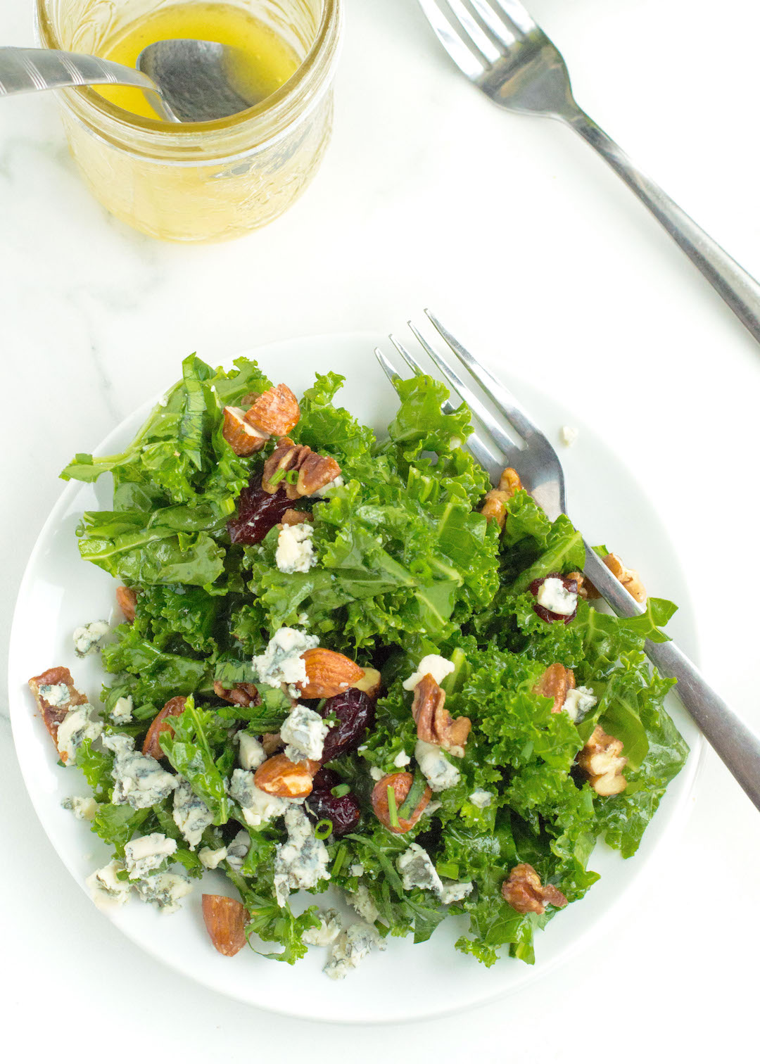 Lemony Kale Salad with Cranberries and Gorgonzola   A simple and healthy recipe for a lemony kale salad with dried cranberries and gorgonzola and candied nuts. This easy to make salad is gluten free and vegetarian-friendly and the perfect side dish for any dinner or party.