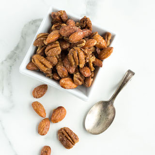 Quick Maple Candied Pecans and Almonds