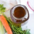 homemade slow cooker vegetable stock | nourishedtheblog.com | feature image