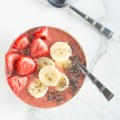 Strawberry Orange Smoothie Bowl with Banana and Chias | nourishedtheblog.com | feature image