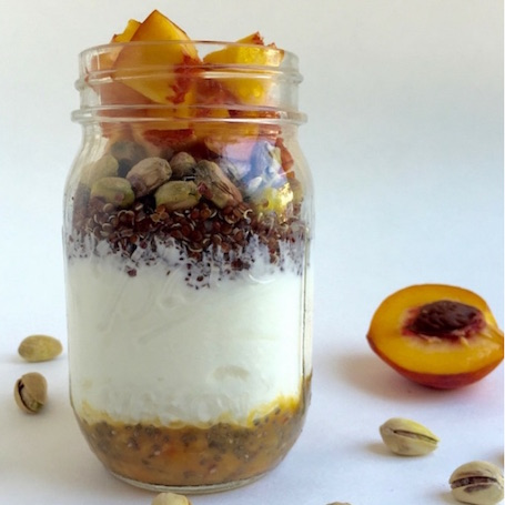 16 Awesome Quinoa Recipe Ideas | nourishedtheblog.com | Quinoa Pistachio Peach Yogurt Parfait from Kelly @ Eat The Gains