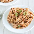 Roasted Tomato and Walnut Pesto Pasta | nourishedtheblog.cm | feature image
