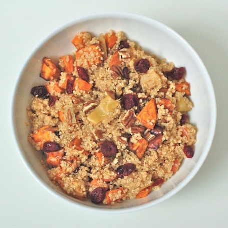 16 Awesome Quinoa Recipe Ideas | nourishedtheblog.com | Spiced Quinoa with Roasted Apples and Root Vegetables from Jessica @ Nutritioulicious