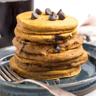 Gluten Free Pumpkin Pancakes with Chocolate Chips
