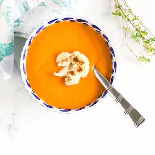 Vegan Roasted Red Pepper Cauliflower Soup