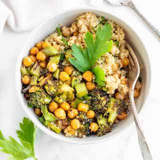 Roasted Broccoli Chickpea Quinoa Bowls