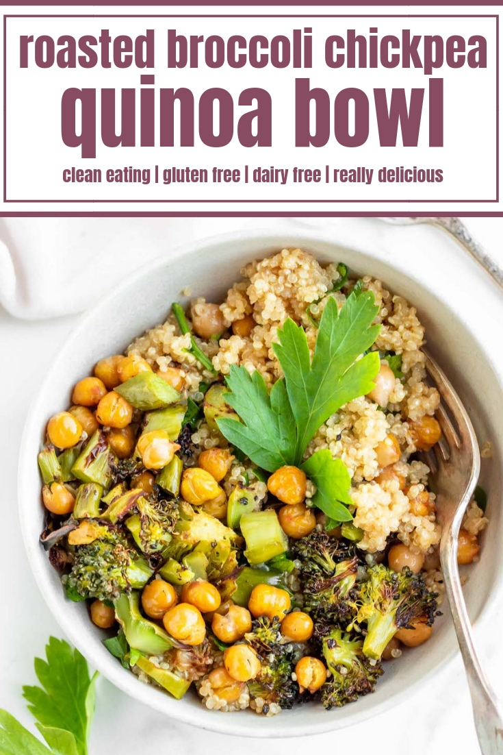 Roasted Broccoli Chickpea Quinoa Bowls are a quick and easy dinner recipe loaded with superfood ingredients! This healthy quinoa broccoli bowl is made with roasted vegetables lightly sweetened maple syrup dressing, making it completely gluten free and vegetarian-friendly. It's so easy to make that dinner will be ready before you know it or make it ahead of time for a delicious meal prep lunch all week long. #healthydinner #quinoa #broccoli #glutenfree #mealprep #easyrecipe