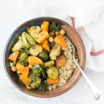 A simple and easy-to-make Roasted Vegetable Grain Bowls. This healthy recipe is made vegan and gluten free with sweet potatoes, broccoli, brussels sprouts and chickpeas for a nutritious and delicious dinner.