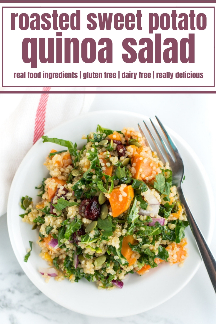 This easy Roasted Sweet Potato Quinoa Salad recipe makes the perfect healthy lunch for any day of the week. This clean eating and gluten free salad is made with dried cranberries, kale, pumpkin seeds and a sweet and zesty lime dressing and is totally delicious!