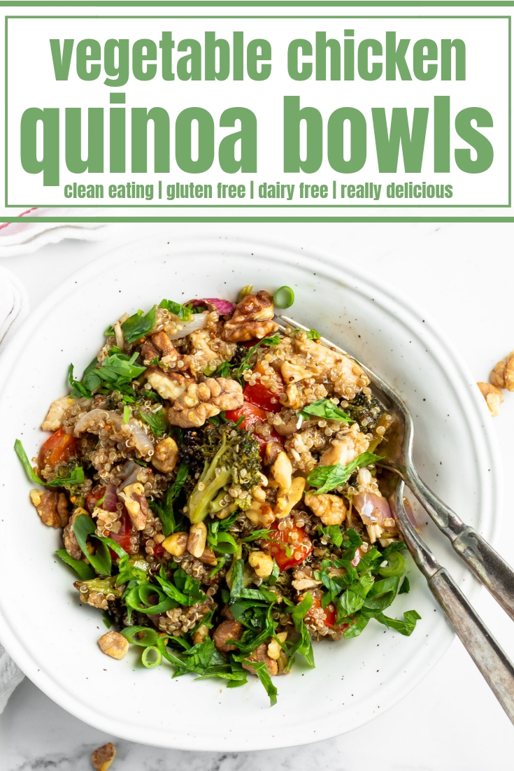 These super easy Honey Roasted Vegetable Chicken Quinoa Bowls make for the best lunch AND dinner. This recipe uses oven roasted vegetables and chicken with a homemade honey balsamic vinaigrette and fluffy quinoa. Serve it warm or cold for an amazing and easy to make meal prep recipe to enjoy all week long.