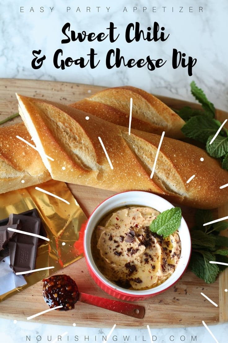 Easy party recipe: Sweet Chili & Goat Cheese Dip with fresh mint and dark chocolate | Nourishing Wild