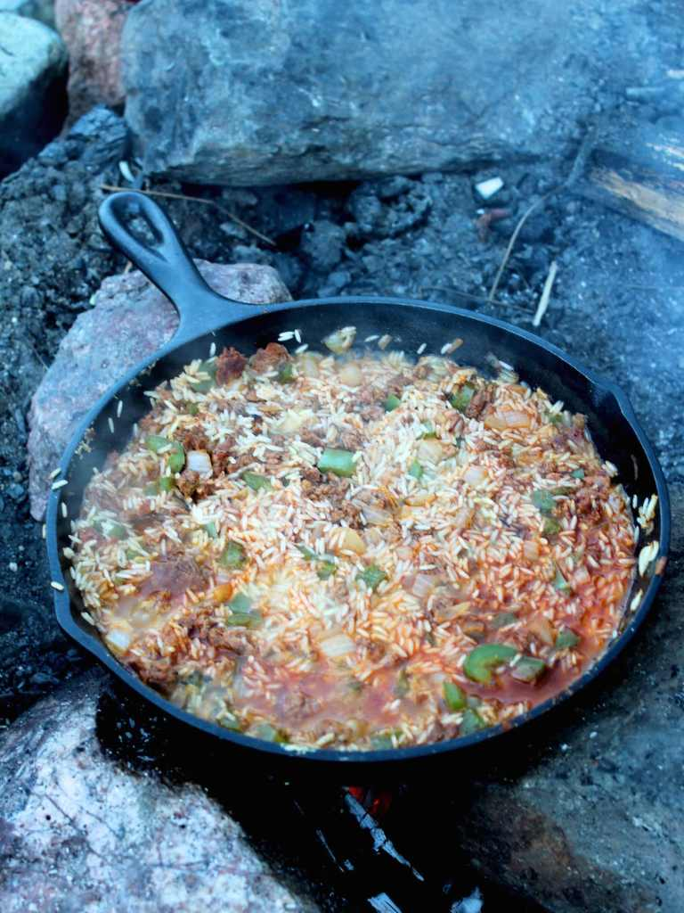Campfire Arroz Con Pollo / Chicken Paella Recipe - best camping recipe for a gourmet dinner | Nourishing Wild