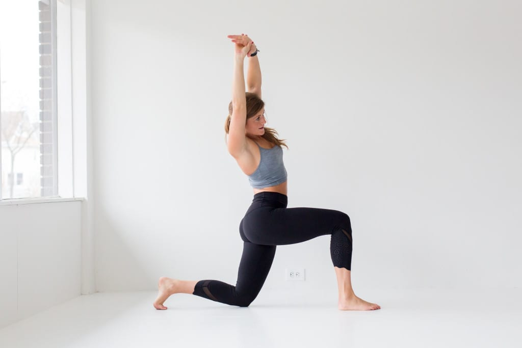 10 morning yoga poses, low crescent lunge + side body stretch --- www.nourishmovelove.com
