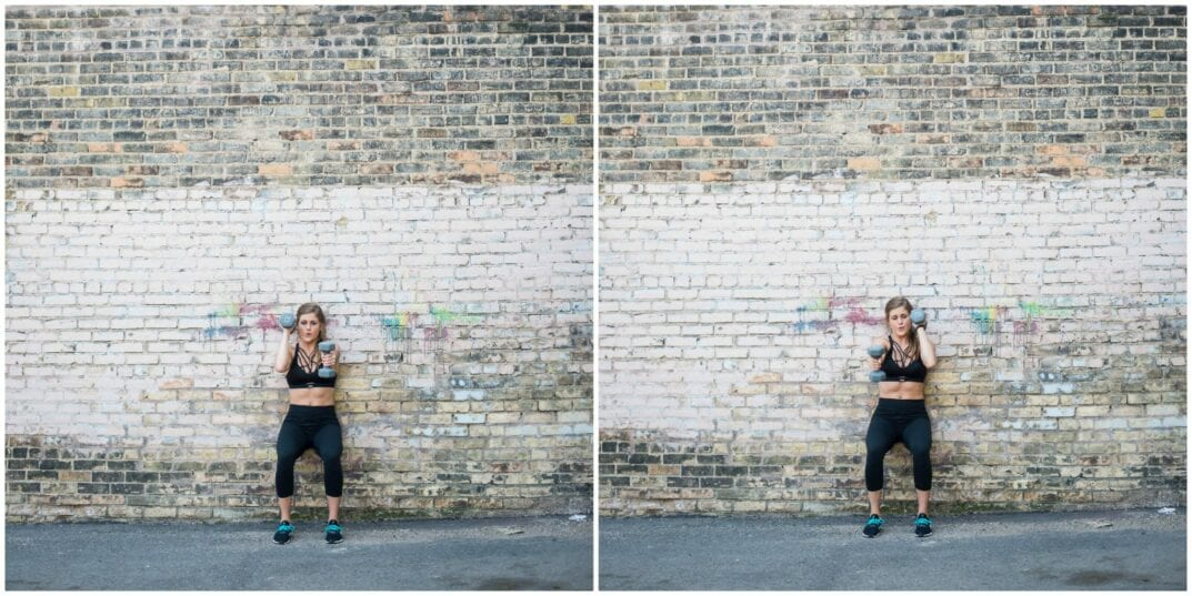 wall sit with front raise bicep kicks