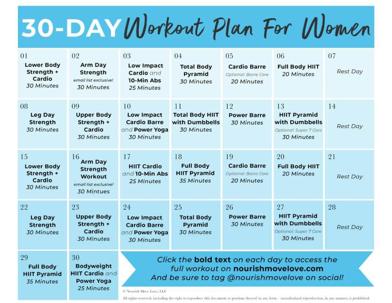 Free 30 Day Home Workout Plan