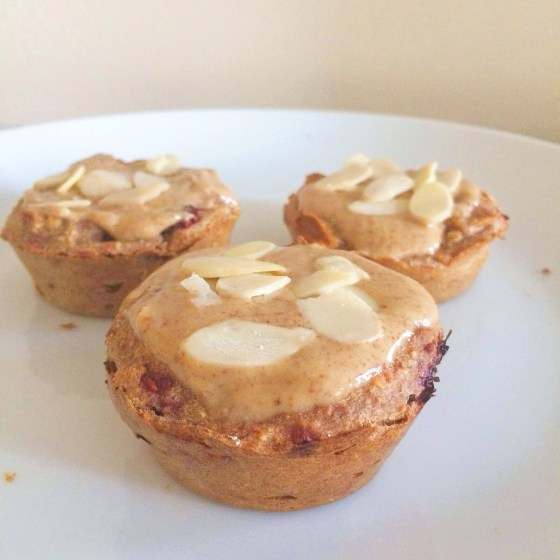 Raspberry Almond Cream Muffins- Healthy, Vegan + Gluten Free