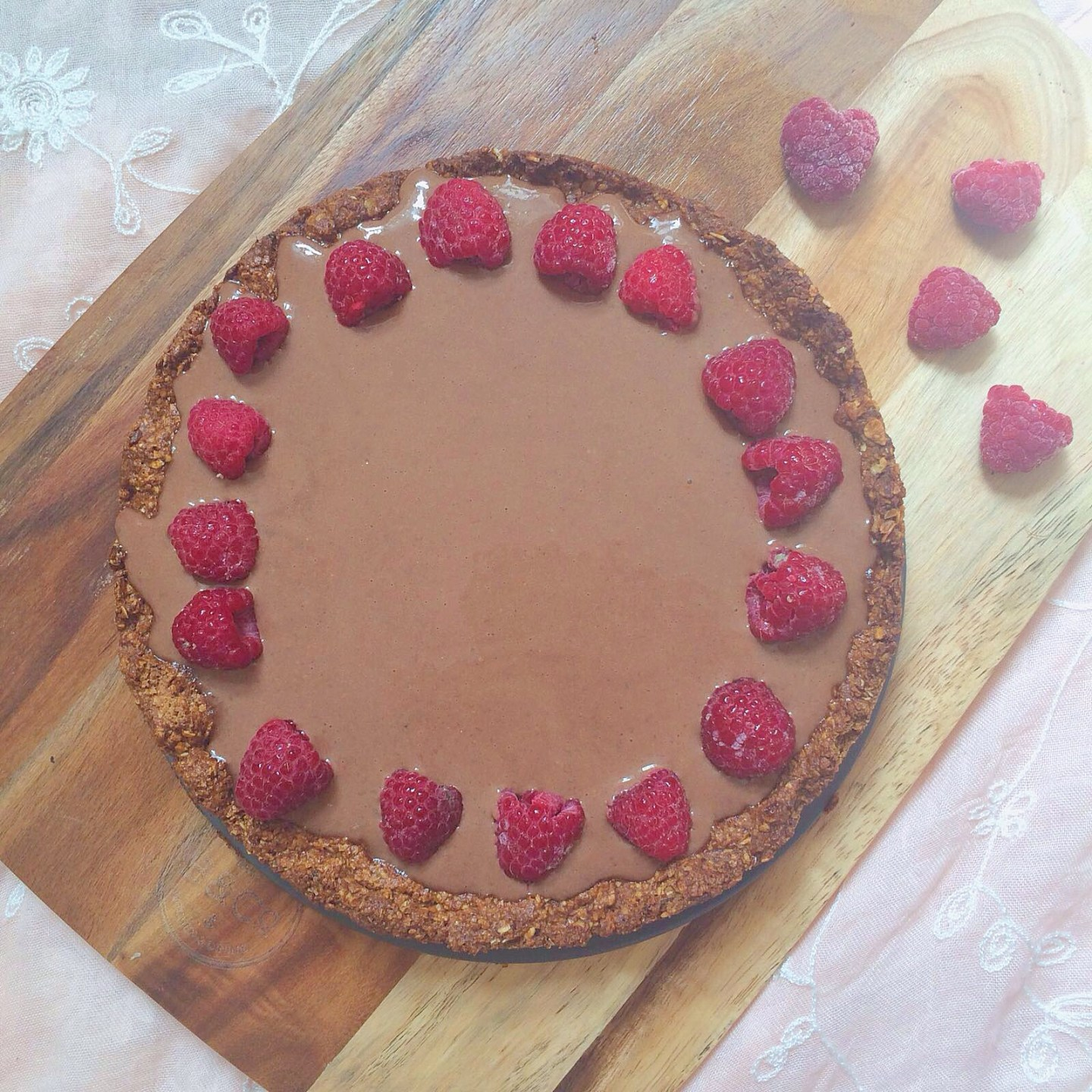 Chocolate Tart Recipe with Raspberry and Almond