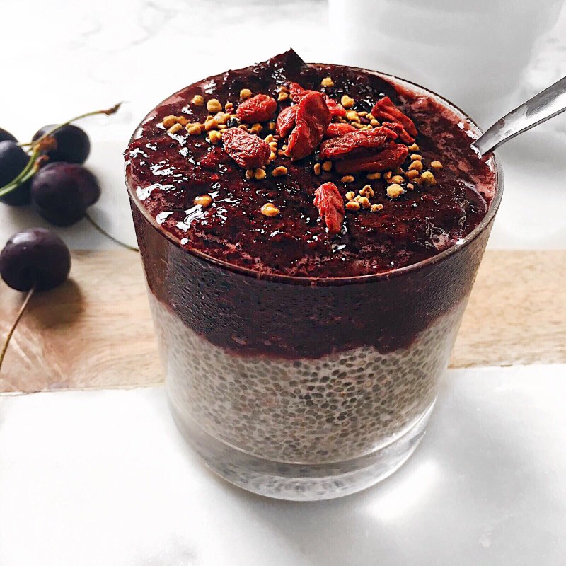 Healthy Chia Pudding with Cherry Sauce Recipe