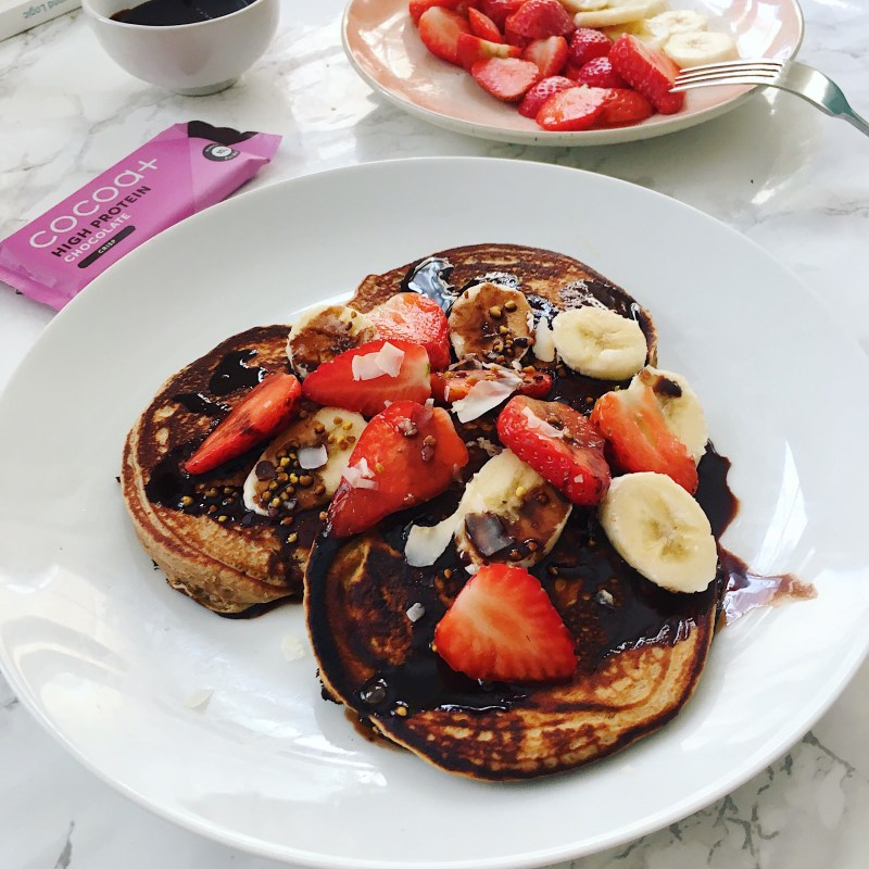 Healthy Pancakes with Chocolate Sauce