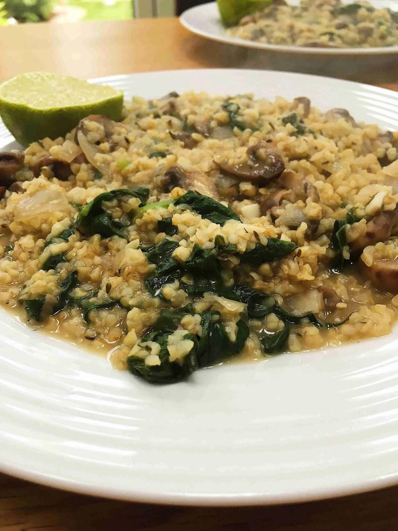 Mushroom and Spinach Buckwheat Risotto Recipe