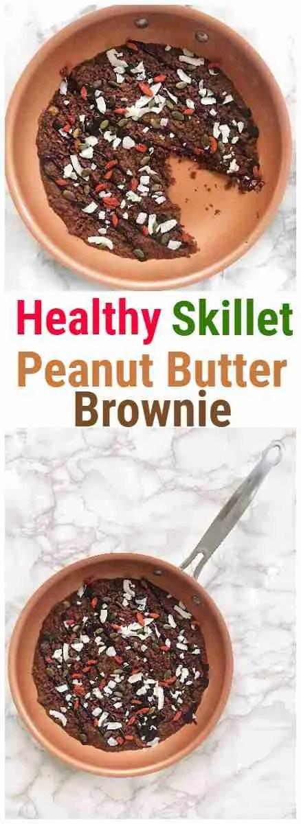 Skillet Peanut Butter Brownie Recipe - Vegan+ Gluten Free