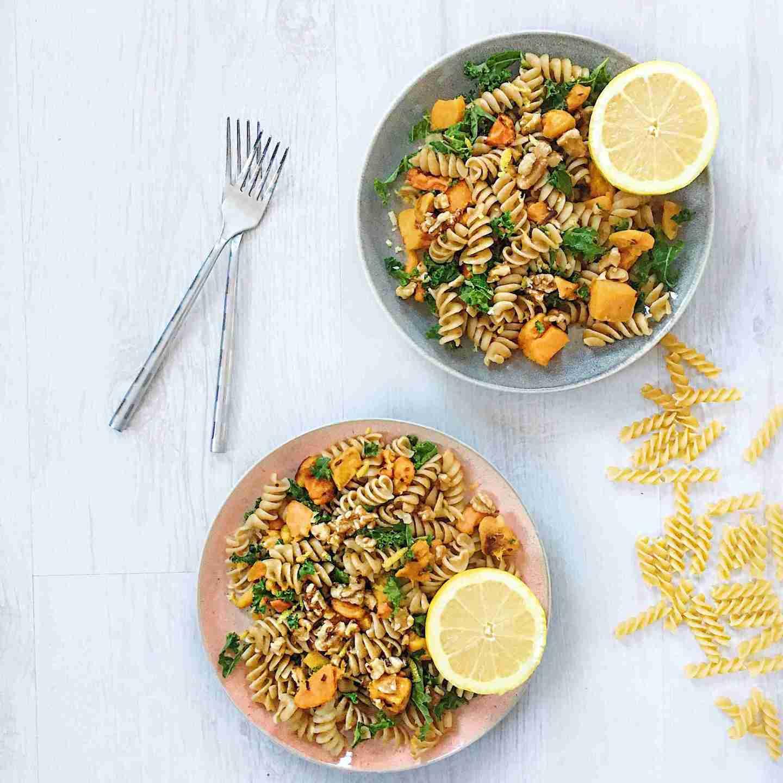 Butternut Squash, Kale and Walnut Healthy Pasta Recipe