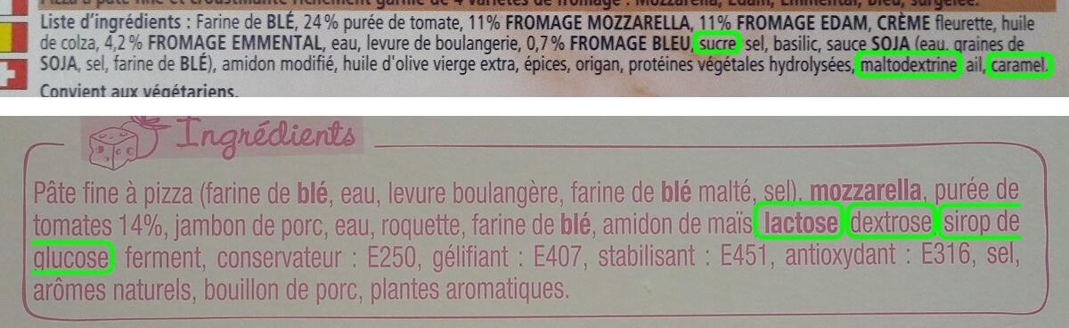 liste d'ingrédients de deux pizzas industriels