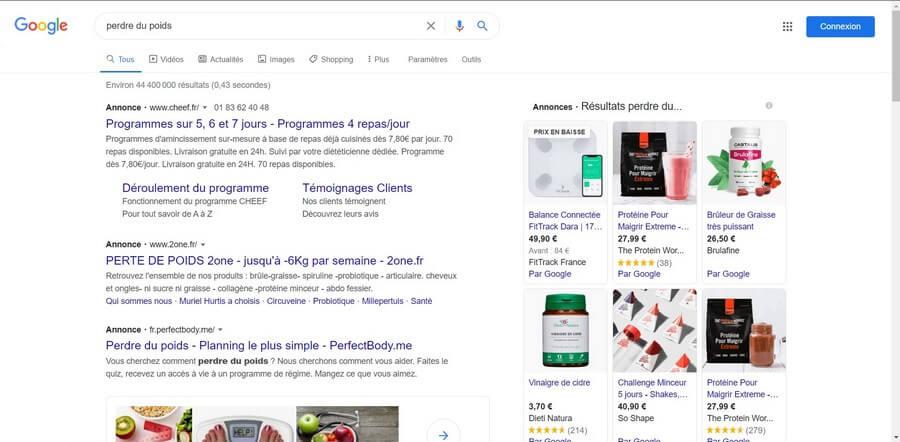 Recherche perte de poids sur Google