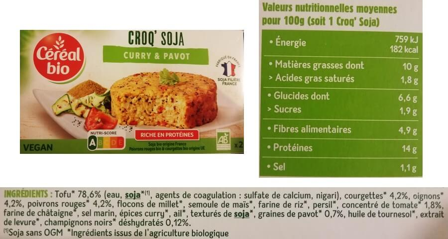 étiquette alimentaire d'un croc'soja