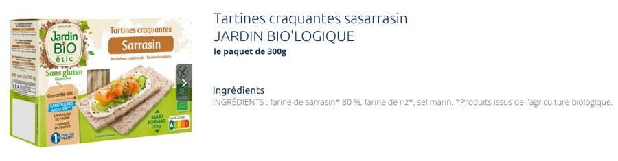 Tartines craquantes sarrasin - Jardin Bio Ethic