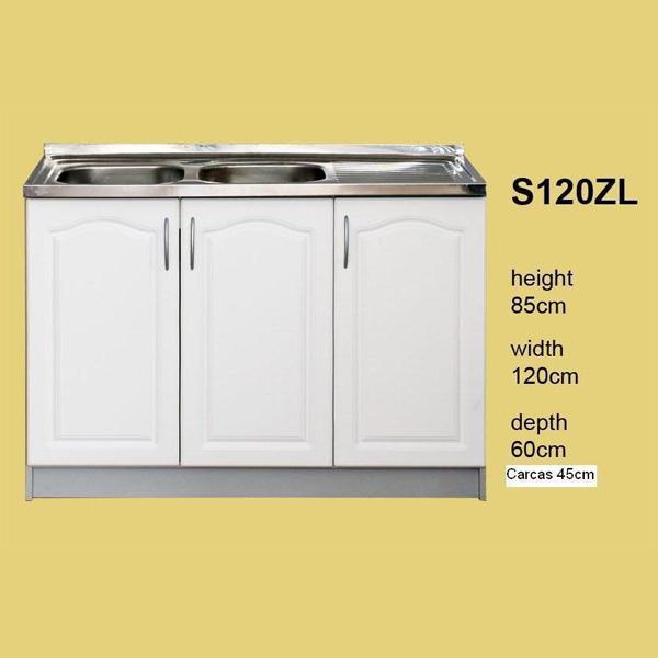 meuble de cuisine 3 portes pour evier 120 cm element bas beatrice s120zl