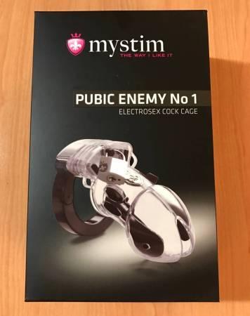 Test de la cage de chasteté compatible Electrostim Mystim Pubic Enemy N°1 - NXPL