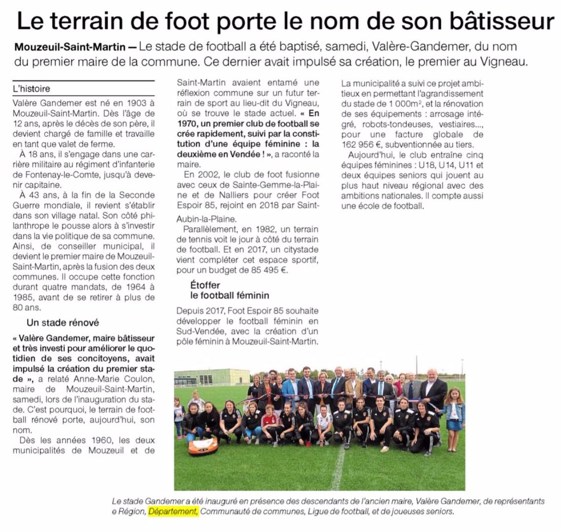 Inauguration du terrain de foot de Mouzeuil-Saint-Martin
