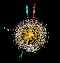 Désintégration d'un boson de Higgs en quatre leptons dans cette collision enregistrée au CERN.