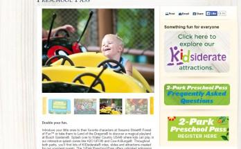 Seaworld/Busch Gardens 2 Park Preschool Pass