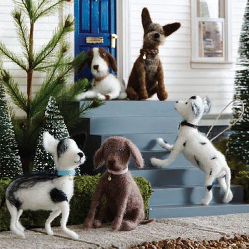 5 X Doggie Dog Breed Christmas Tree Ornaments