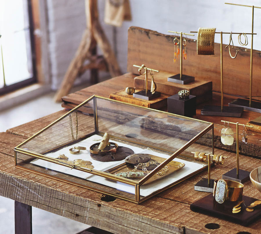 Jewelry Display Supplies Brass Plated Classic Glass