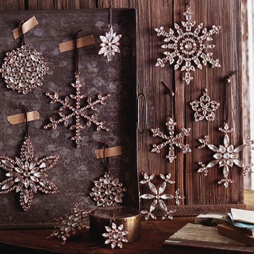 Victorian Rhinestone Snowflake Tree Ornaments Set 4