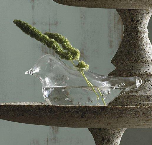 glass wedding dove vase set 2